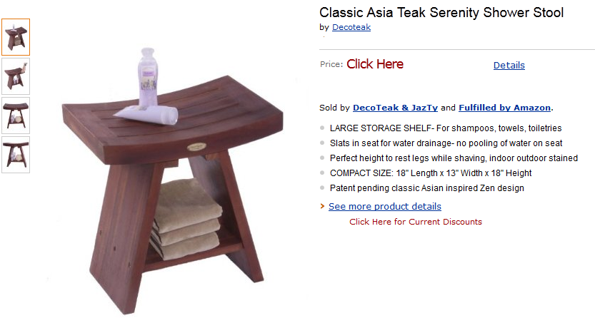 Teak Shower Bench Stool